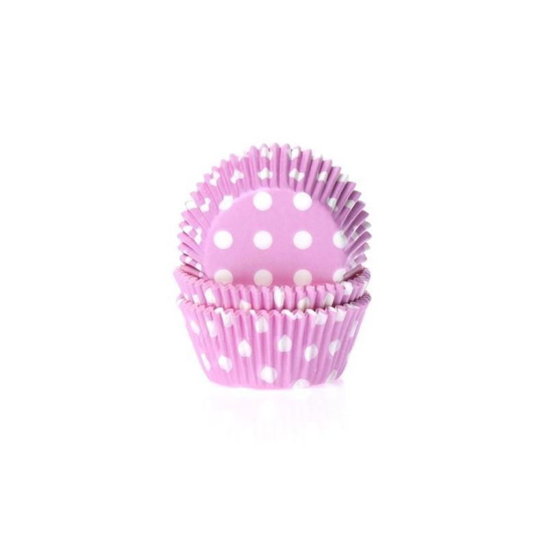Capsulas cupcakes rosa con lunares blancos Hom
