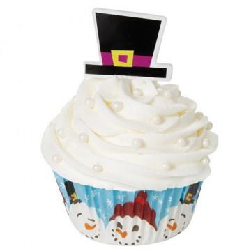 Set para cupcakes: Muñeco de nieve Chistera Wilton