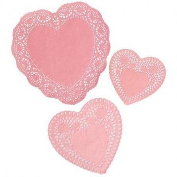 Tapete de papel 72 unidades corazón rosa