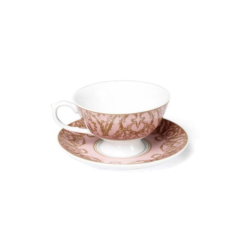 Taza+Plato cerámica Rosa Oro Regency