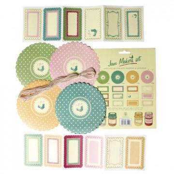 Kit mermelada: etiquetas, cubre tapón y cintas Vintage Pastel