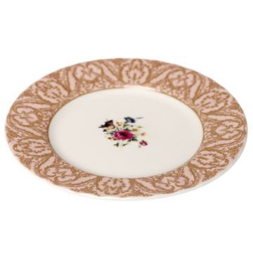 Plato de cerámica postre Rosa Oro Regency
