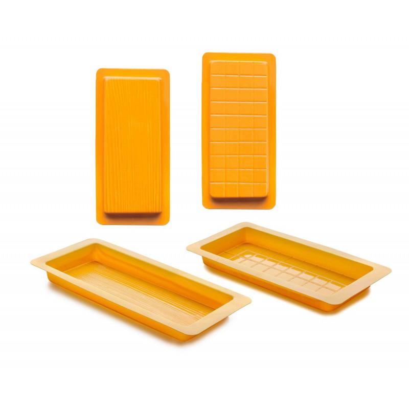 Pack 2 moldes plástico Turrón tronco y onzas Ibili