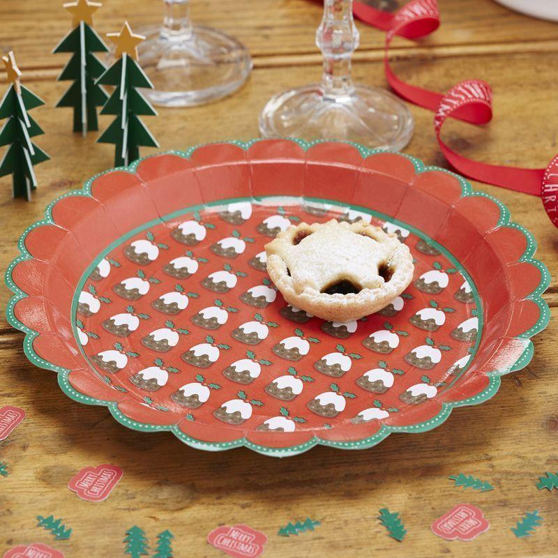 Plato fiesta Pudding Navidad