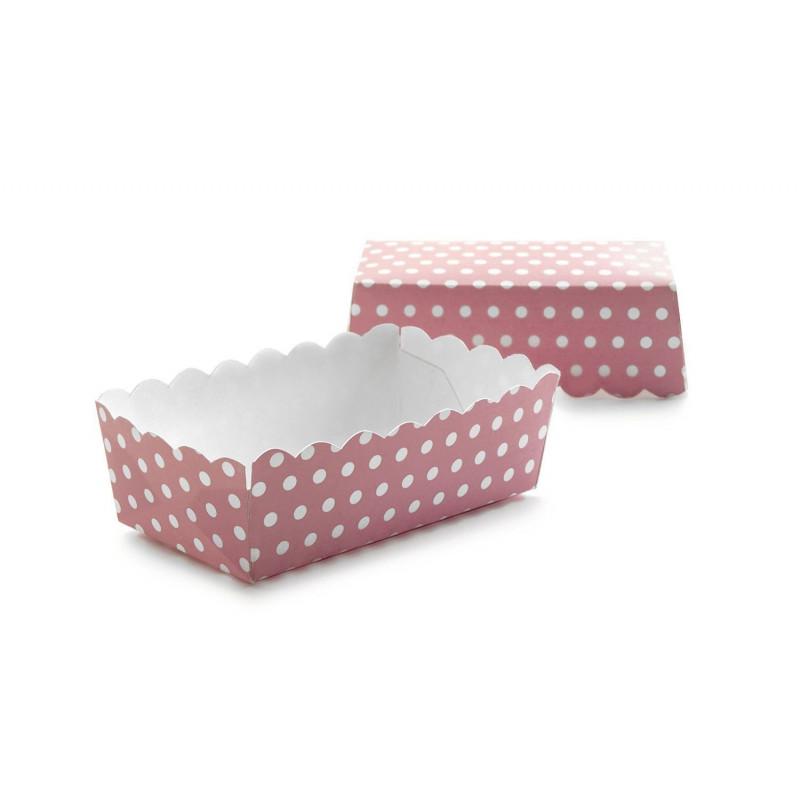 Cápsulas cupcakes rectangulares Lunares Rosa