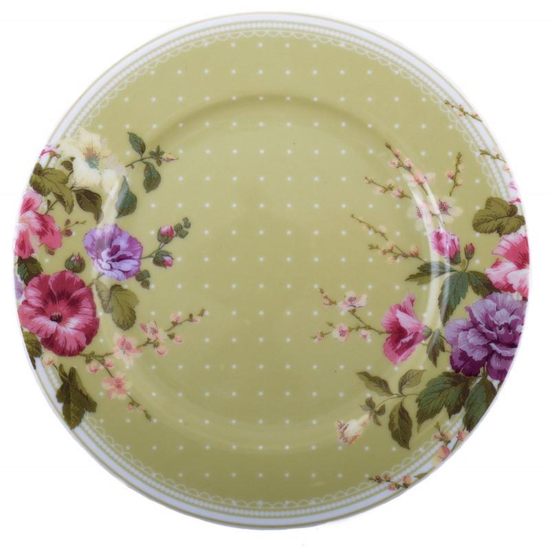 Plato cerámica postre Verde con Flores Highland Katie Alice