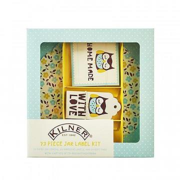 Kit mermelada: etiquetas,etiquetas adhesivas, cubre tapón y cinta Buho Kilner