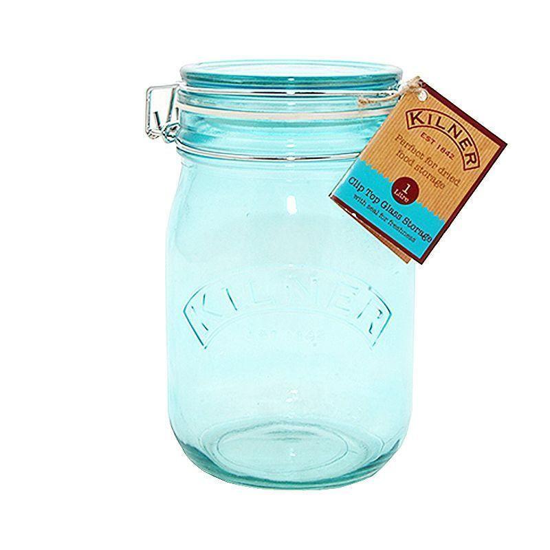 Tarro de cristal hermético Azul 1 L Kilner