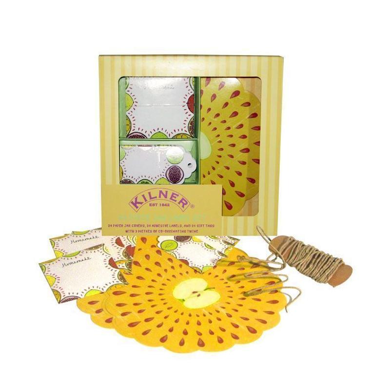Kit mermelada: etiquetas,etiquetas adhesivas, cubre tapón y cinta Frutas Kilner