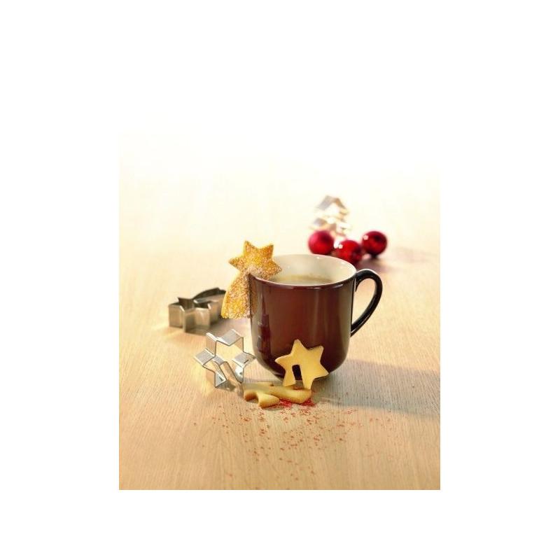Cortante  pack 4 cortantes a la taza: estrella fugaz, árbol , gorro papa noel y estrella