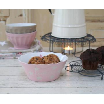 Cuenco Galletas Cookies Rosa Estrellas