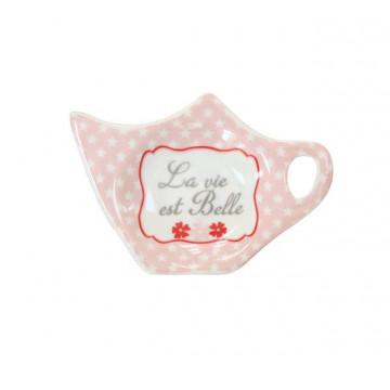 Plato para bolsa de té La vie ets belle