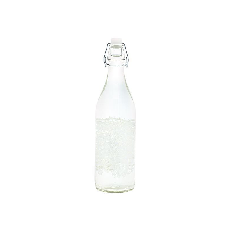 Botella de cristal Liva White Green Gate