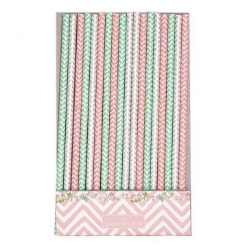 Pajitas de papel Chevron:verde, gris y rosa Green Gate