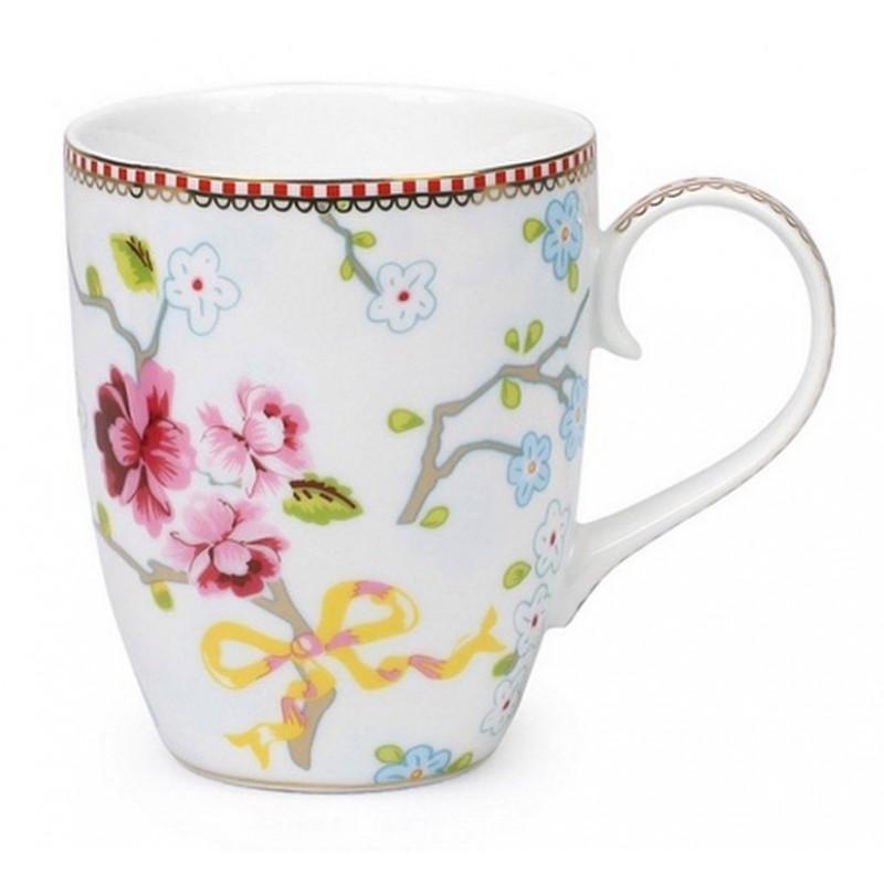Tazón de leche con asa Chinese Rose Blanco Pip Studio