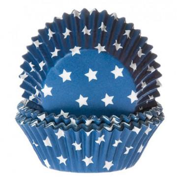 Cápsulas cupcakes azul con estrellas blancas House of Marie