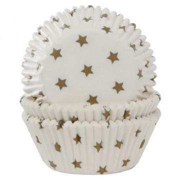 Cápsulas cupcakes color blanco con estrellas oro House of Marie