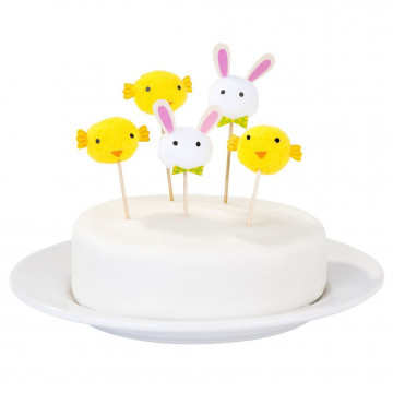 Pack 10 toppers: Conejo y Pollito Pascua
