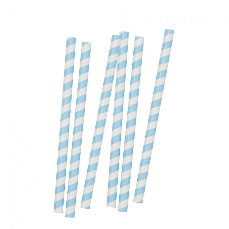 Maxi Pajitas de papel Blanca y Azul