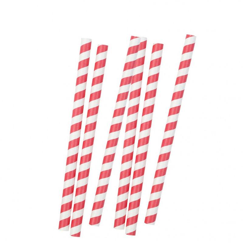 Maxi Pajitas de papel Blanca y Roja