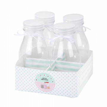 Pack 4 botellas de plástico + base Verde Menta Mix & Match