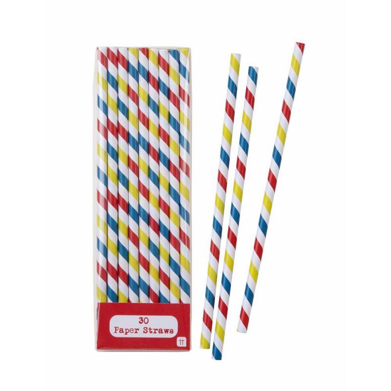 Pajitas de papel Rayas: Rojo, Amarillo y Azul