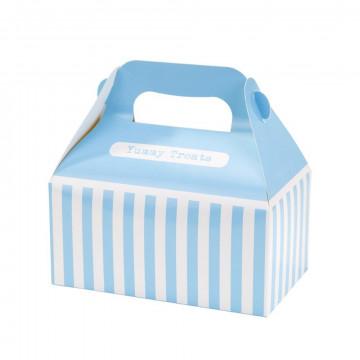 Pack de 4 cajas decoradas Azul Rayas