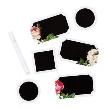 Set etiquetas pizarra + tiza Blossom & Brogues
