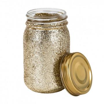 Tarro de cristal dorado purpurina