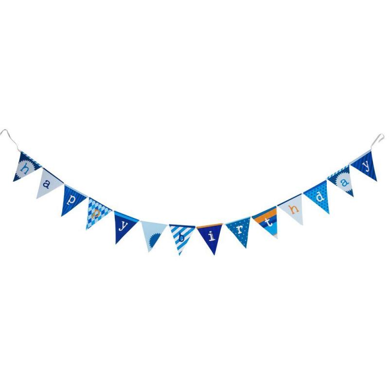 Banderola Guirnalda de papel Happy Birthday Azul
