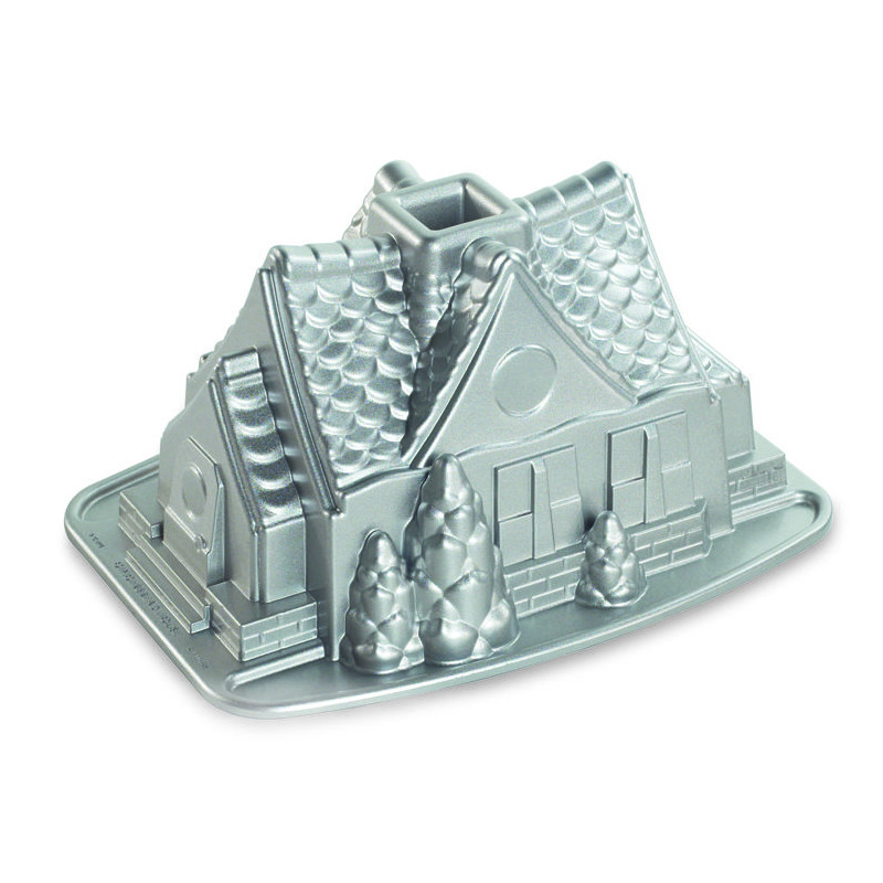 Platinum Gingerbread House Bundt Pan Nordic Ware